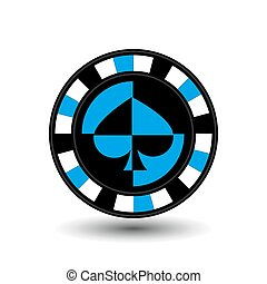 chips for poker biue a suit spade an icon on the white isolated background. illustration eps 10 vector. To use  the websites, design, the press, prints...