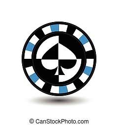chips for poker blue a suit spade white black an icon on the  isolated background. illustration eps 10 vector. To use  the websites, design, the press, prints...