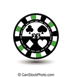 chips for poker green 25 in the middle and rectangles with a side. round  white dotted line . an icon on the  isolated background. illustration eps 10 vector. to use  the websites, design, the press, prints...