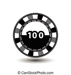 chips for poker grey a suit 100 figure and white dotted line the . an icon on the isolated background. illustration eps 10 vector. To use the websites, design, the press, prints...