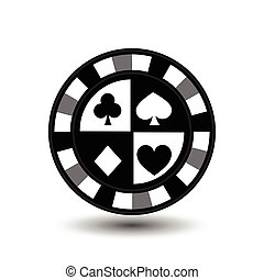 chips for poker grey a suit spade heart club diamond white black an icon on the  isolated background. illustration eps 10 vector. To use  the websites, design, the press, prints...