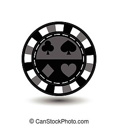 chips for poker grey a suit spade heart diamond club blue black and white dotted line the . an icon on the  isolated background. illustration eps 10 vector.To use  the websites, design, the press, prints...