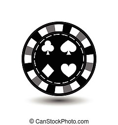 chips for poker grey spade heart diamond in the middle and a white dotted line the . an icon on the  isolated background. illustration eps 10 vector. To use   the websites, design, the press, prints...