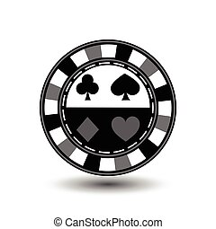 chips for poker grey suit spade heart diamond club blue black an icon on the white isolated background. illustration eps 10 vector. To use  the websites, design, the press, prints...