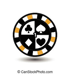chips for poker yellow four suits and figure one  a white dotted line the . an icon on the  isolated background. illustration eps 10 vector. To use  the websites, design, the press, prints...