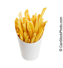 Chips - French fries on white with clipping path