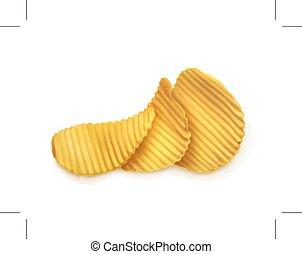 chips, illustration, pomme terre