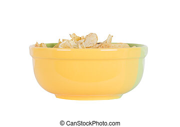 chips in a yellow bowl