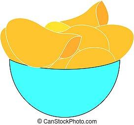 Chips in bowl, illustration, vector on white background.