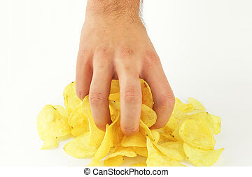 Chips in hand on the white background