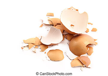 Chips of the crushed egg shell-concept of wreck and crash
