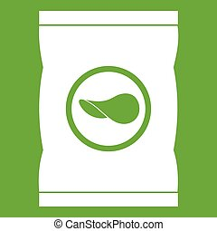 Chips plastic bag icon green