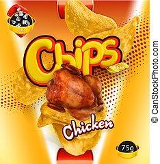 chips., pomme terre, conditionnement, vecteur, conception, gabarit, poulet, flavor., 3d