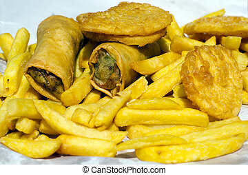 Chips Potato Fritters and Spring Rolls Fast Food
