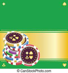 chips, vert, tas, ba, jouer