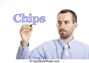 Chips - Young businessman writing blue text on transparent surface