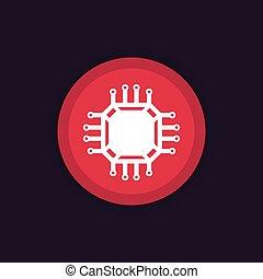 chipset, icône, puce, vecteur