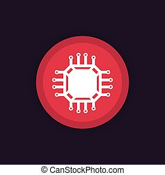 chipset, microchip vector icon, eps 10 file, easy to edit