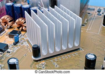 Chipset Radiator - Extreme close-up of aluminum radiator ...