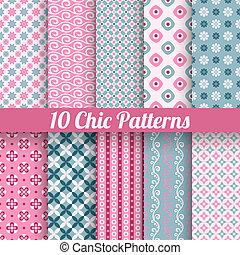chique, diferente, vetorial, seamless, padrões, (tiling)