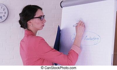 chiquenaude, donner, femme affaires, social, jeune, écriture, chart., média, présentation