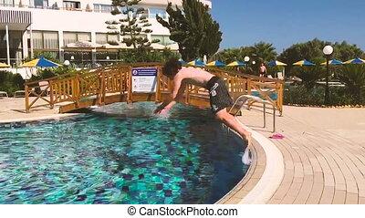 chiquenaude, pool., jeune, plongeon, homme, devant