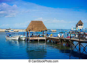 Chiquila port in Quintana Roo Mexico crossing ferry point to...