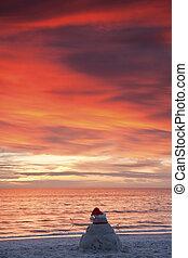 Chiristmas in Florida - Sand Man watching sunset