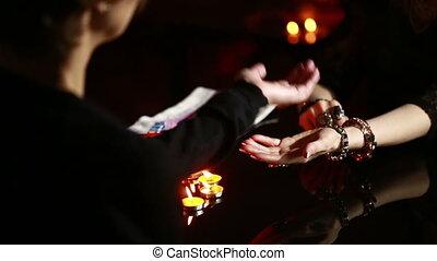 chiromancja, traf, -, fortune., czarownica, czytanie,...