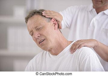 chiropractic:, hátgerincmasszázzsal gyógyító, cselekedet, nyak, elintézés