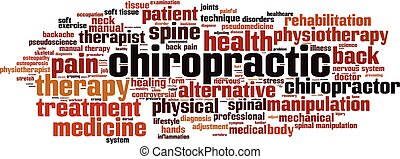 Chiropractic word cloud concept. Vector illustration