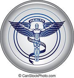 chiropractor, 符號, 或者, 圖象, 按鈕
