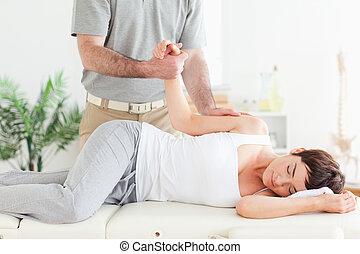 chiropractor, estica, femininas, customer's, braço