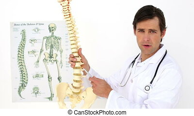 Chiropractor explaining spine model to camera at the...