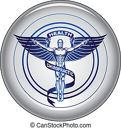 Illustration of a chiropractors symbol or icon in black and white graphic style on a button.