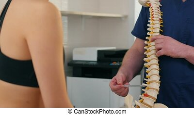 chiropraxie, femme, inspection, -, problèmes, traitement, ...