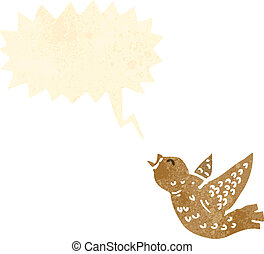chirping little bird retro cartoon