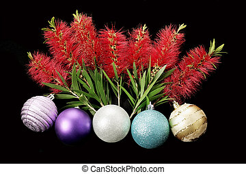 Chirstmas Baubles and Bottlebrush Flowers