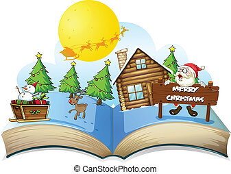 Chirstmas book - Illustration of a popup christmas book