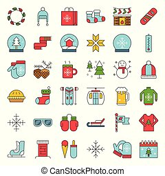 Chirstmas related filled style vector icon set, editable outline icon
