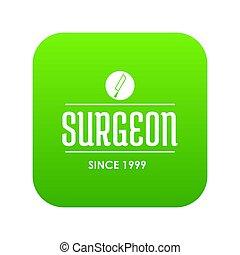chirurg, groene, pictogram