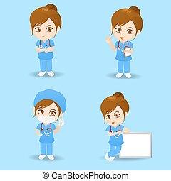 chirurg, kobieta, rysunek, doktor