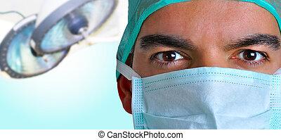 chirurg, maske, gesicht