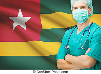 chirurg, met, nationale vlag, op achtergrond, reeks, -, togo