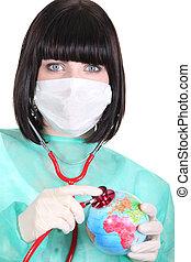 chirurg, mit, a, stethoskop, auf, a, erdball