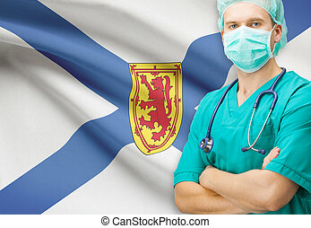 chirurg, mit, kanadier, privinces, fahne, hintergrund,...