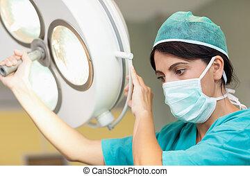 chirurg, operatief hel, vasthouden
