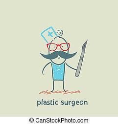 chirurg, plastic, scalpel