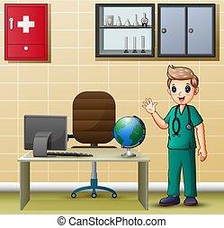 chirurg, seine, zimmer, buero, mann