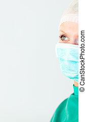 chirurg, vrouwlijk, verticaal